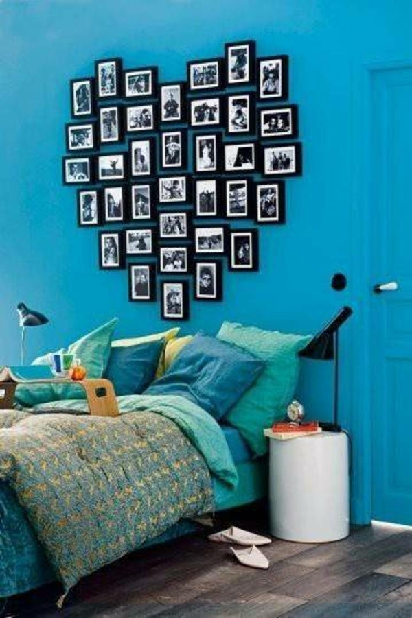 wall color turquoise photos heart shape