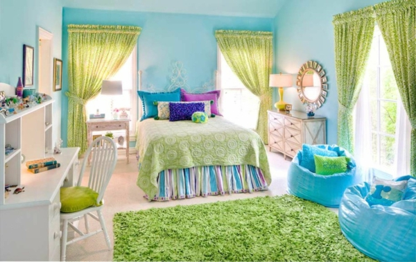 wall paint turquoise yellow-green curtains high pile carpet