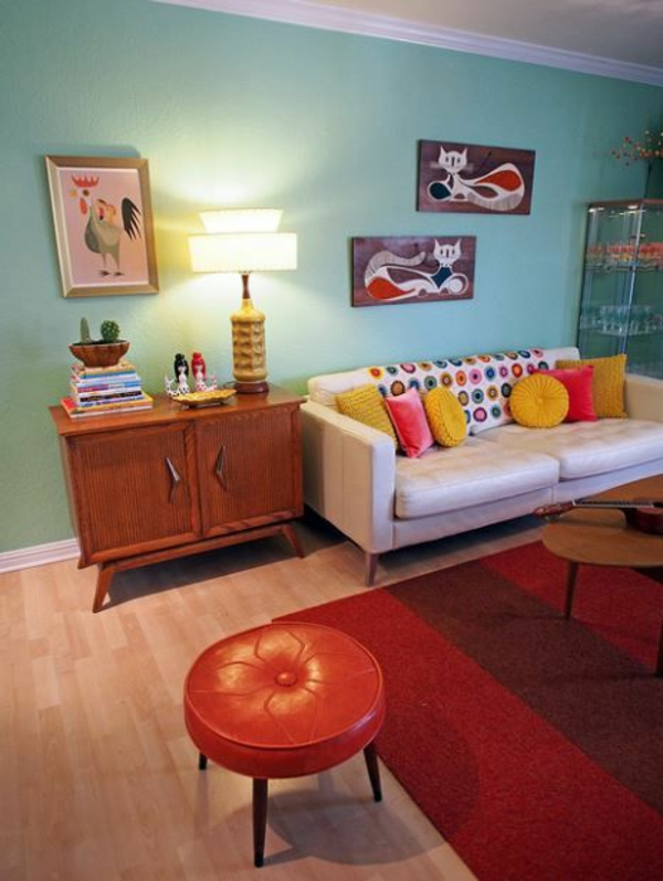 wall paint turquoise bright red stool carpet