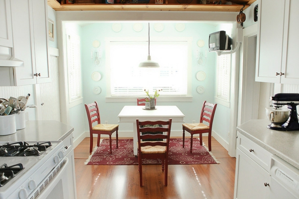 wall color turquoise kitchen cherry wood chairs