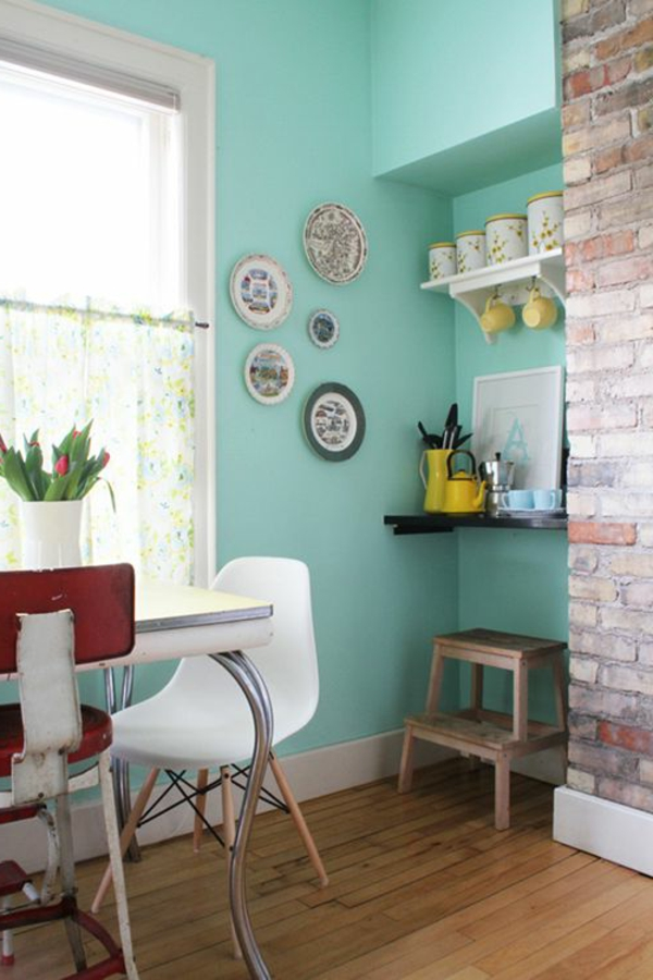 wall color turquoise kitchen open brick wall