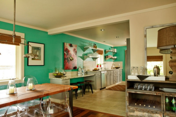 wall color turquoise kitchen open plan