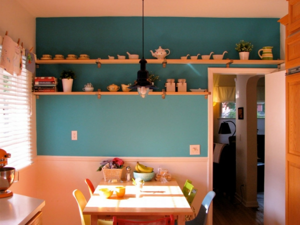 wall color turquoise kitchen orange yellow