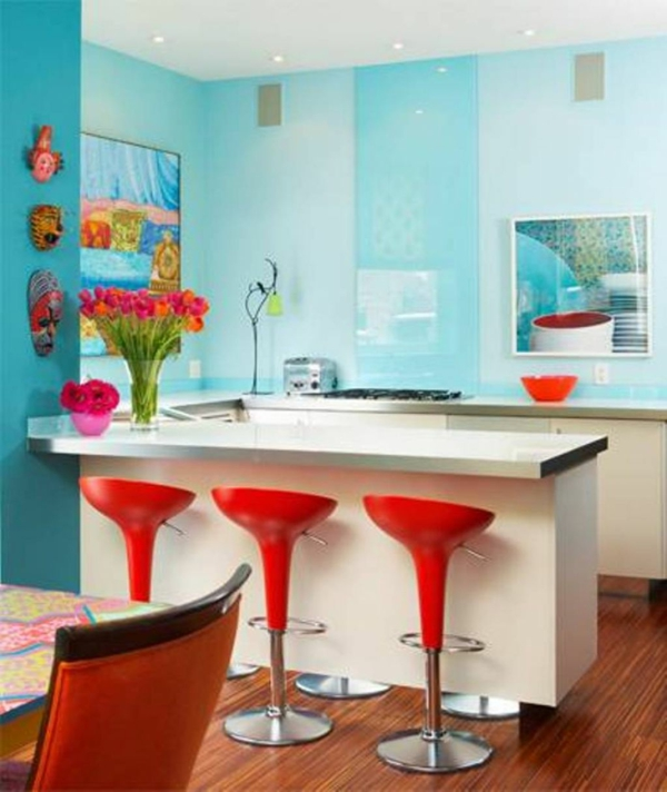 wall color turquoise kitchen counter red bar stools