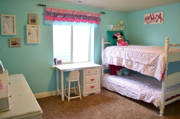 wall color turquoise nursery bunk bed