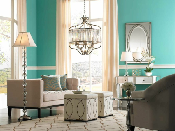 wall color turquoise chandelier crystals