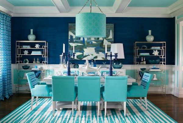wall color turquoise navy blue dining room striped carpet