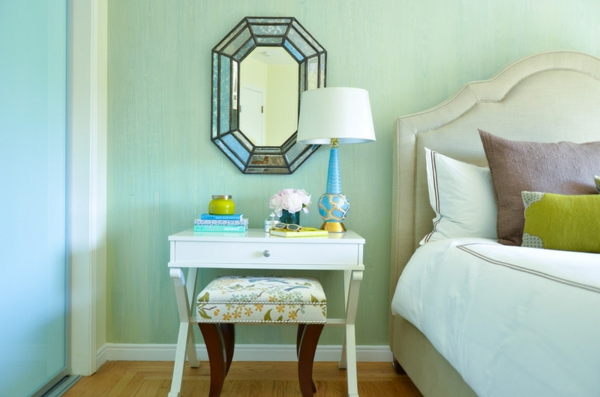 wall color turquoise bedroom mirror