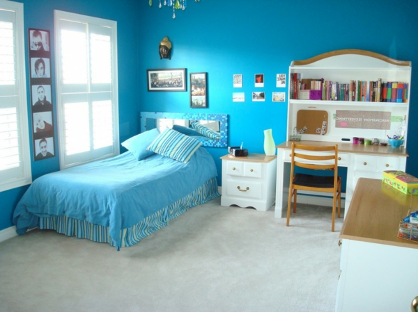 wall color turquoise teenage room bedding