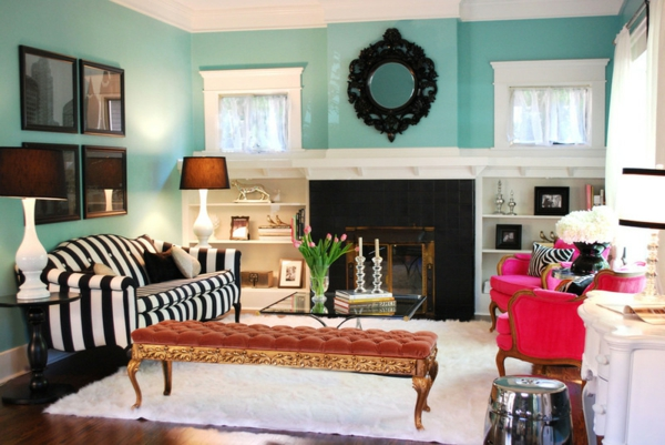 wall color turquoise living room striped couch