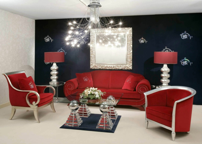 wall colors ideas living room red furniture black accent wall glass table