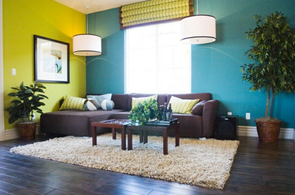 wall colors living room green blue color mixing purple sofa