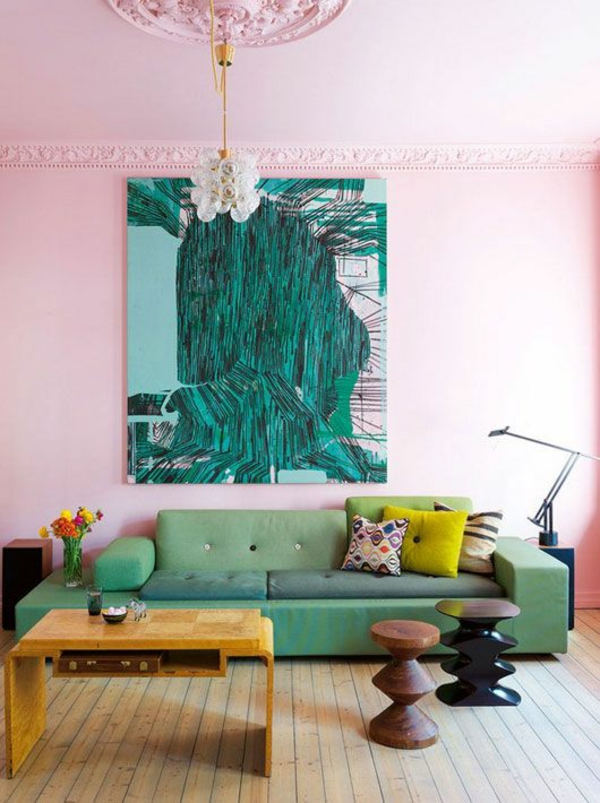wall colors living room pink green daring color design