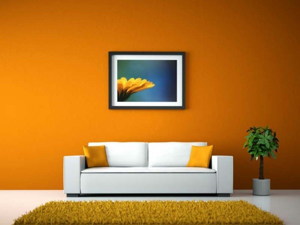 wall colors living room warm color scheme orange yellow