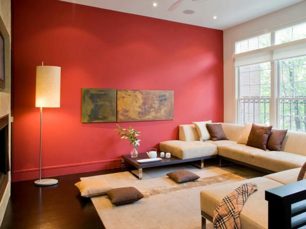 wall colors living room warm color red accent wall