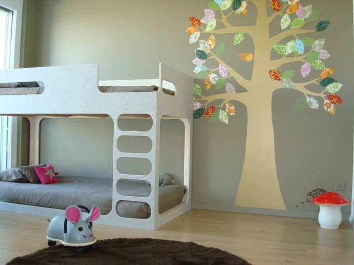 wall painting nursery tree light gray wall high bed