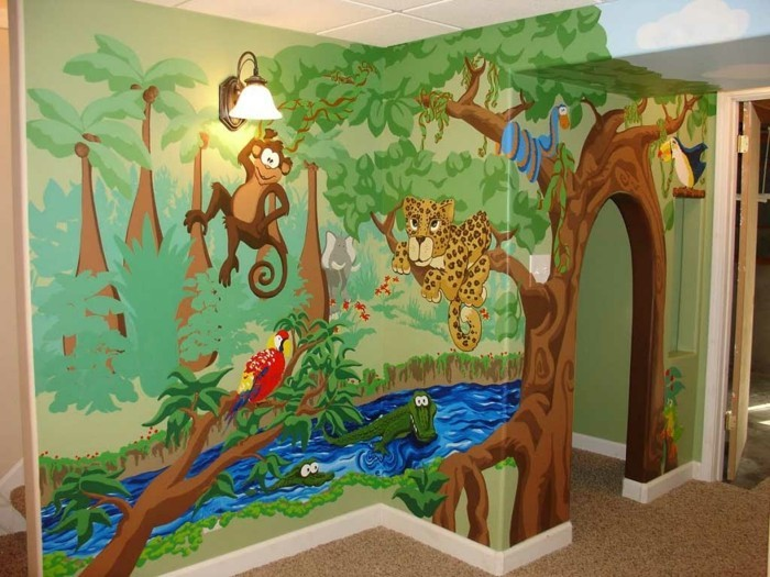 wall painting nursery jungle exotic wall design ideas