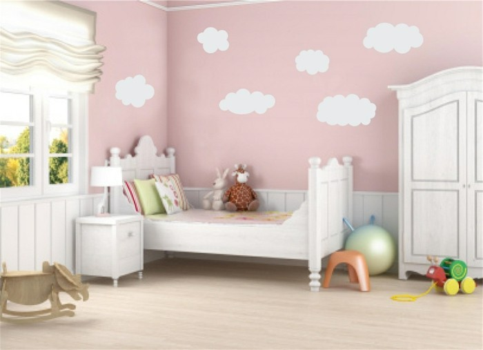 mural painting nursery girl clouds light pink wall paint