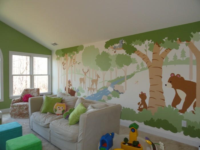 mural children room forest animals nature