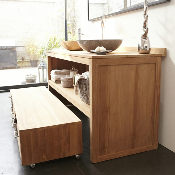 vanity wood rustic bathroom ideas real wood furniture