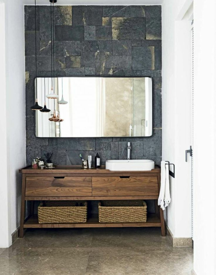 vanity wood rustic bathroom ideas wicker furniture