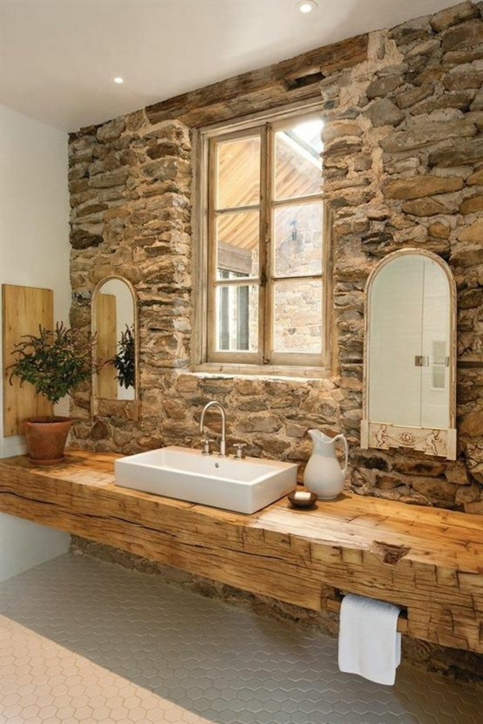 vanity wood rustic bathroom ideas stone wall