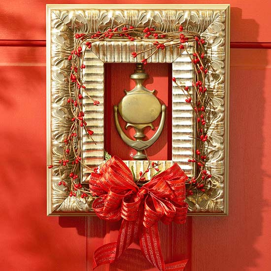 christmas decoration red ribbon rosehip