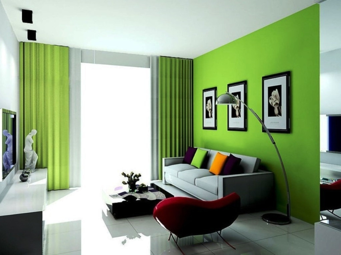 living idea sala de estar acentos verdes cortinas acento pared