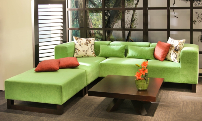 living idea living room esquina verde sofa coffee table decoracion floral