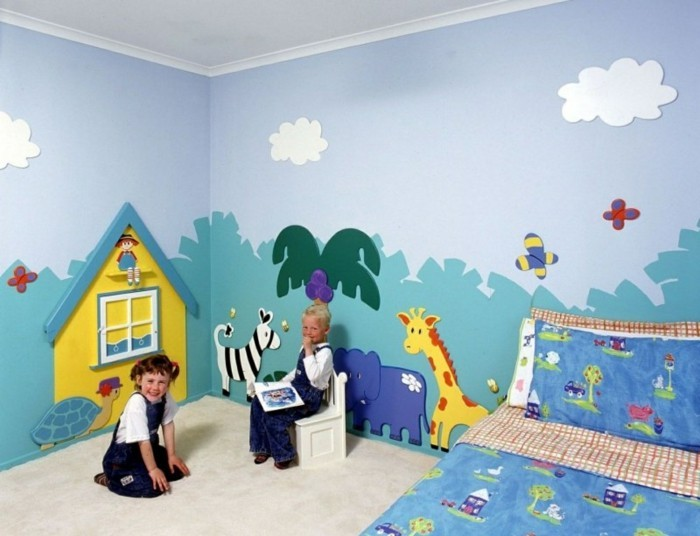 ideas for a home children's room wall design ideas wall painting colored bedding