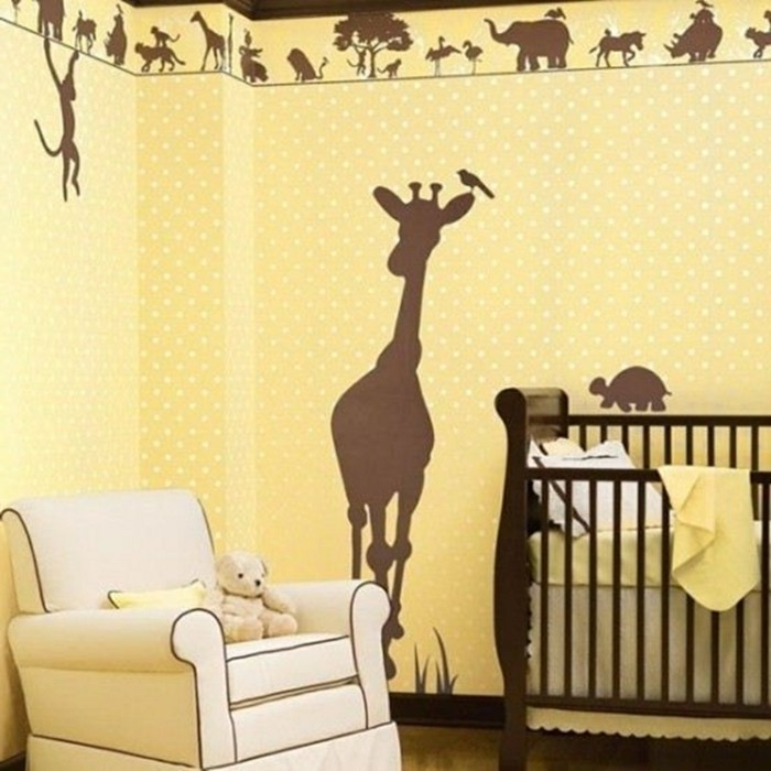 home decor children's room wall painting animals nursery design