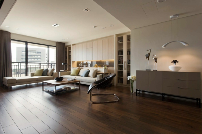 living ideas living room spacious dark flooring bright walls