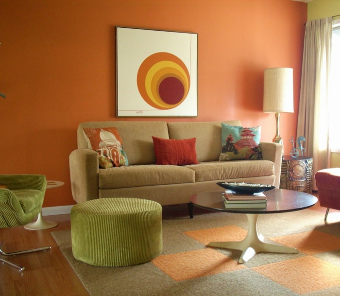 living room living orange walls green furniture