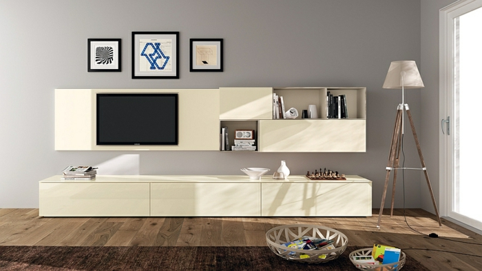 Living Ideas Living Room Estantes de pared TV Living Wall Minimalist Clear Lines