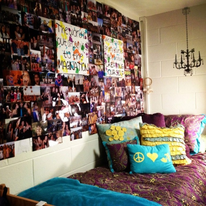 flat decorating ideas girl room photo collage tumblr