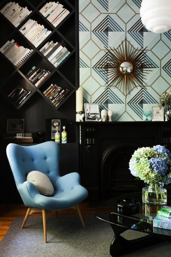 apartment interior ideas armchair blue