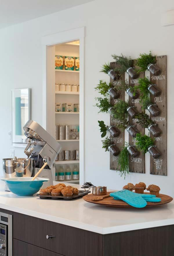 home decorating ideas kitchen wooden board spices