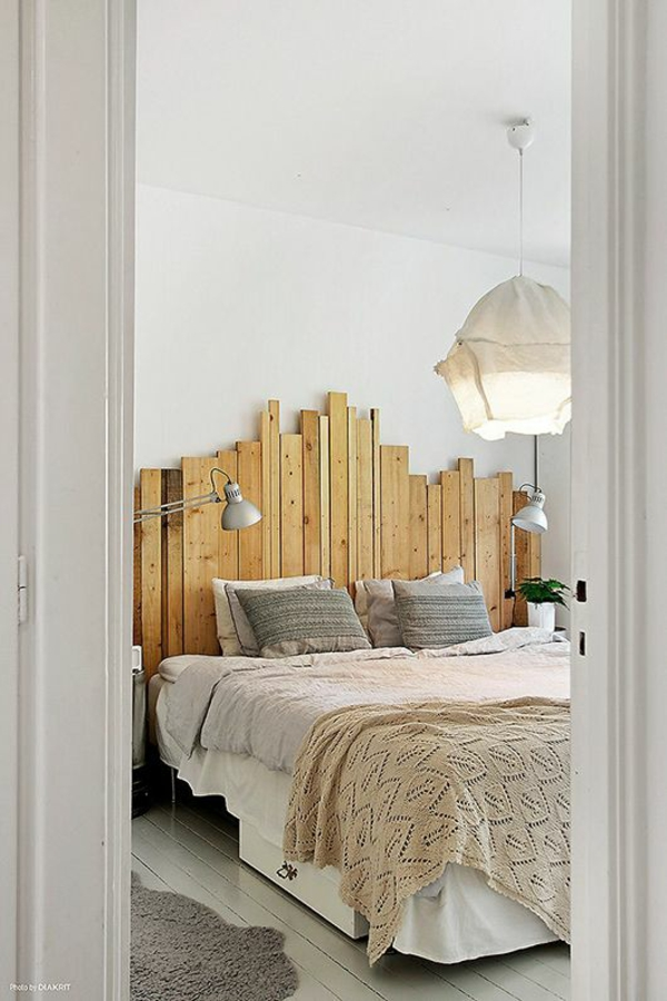 home decorating ideas bedroom headboard made of wooden slats