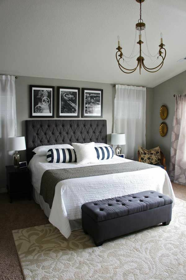 home decor ideas bedroom bed headboard gray bed bench