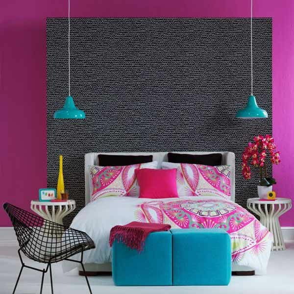 apartment design ideas bedroom pendant lights bed bench blue
