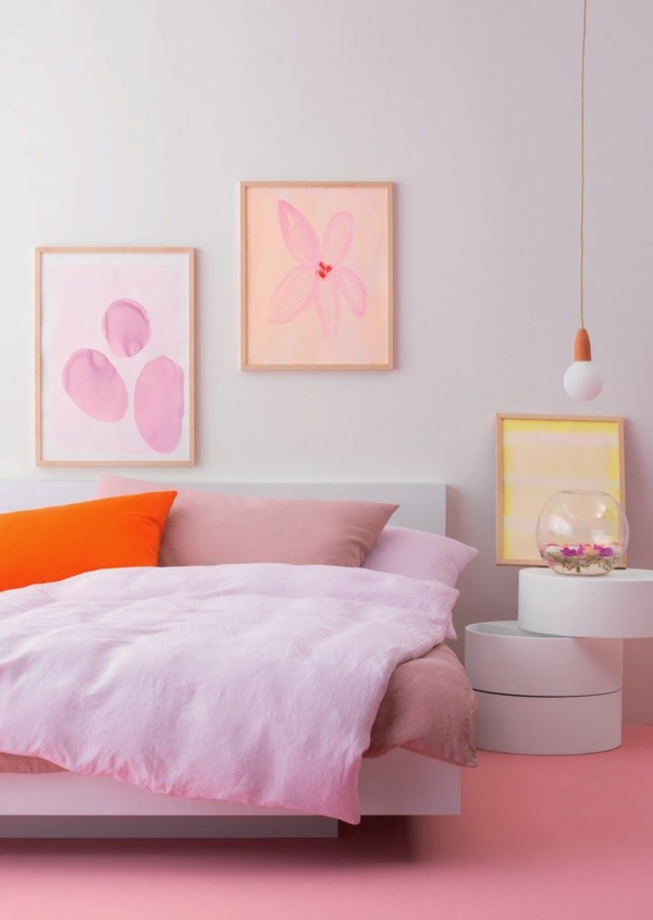 home decorating ideas bedroom pink wall art bedside oval shape
