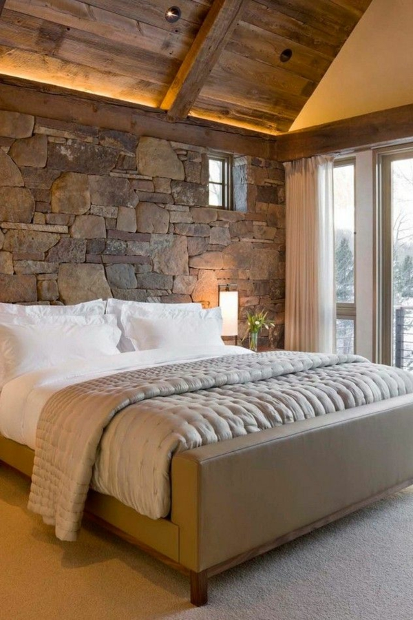 home decor ideas bedroom rustic stone wall wood ceiling
