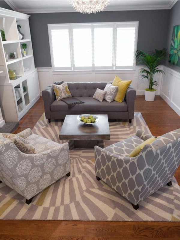 home decorating ideas living room gray and yellow