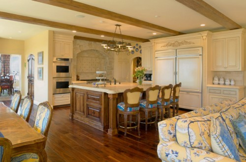 living room dining kitchen a combination rustic country french
