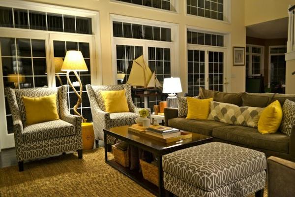 living room design ideas yellow gray upholstered furniture