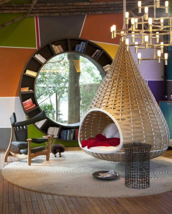 living room design ideas hanging chair wall shelf oval shape