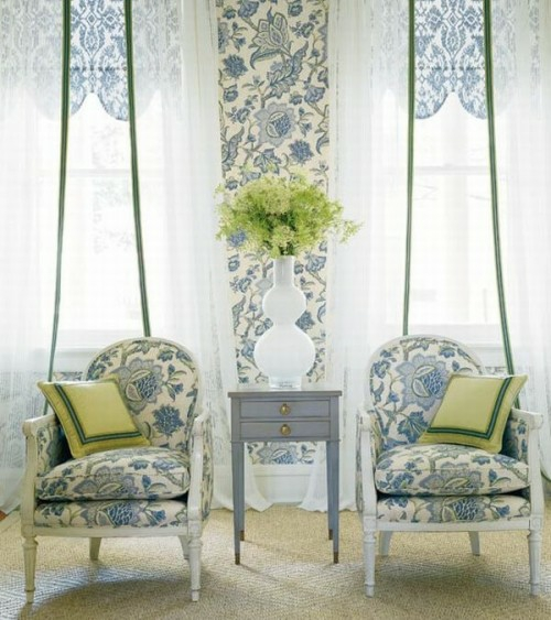 living room idea french armchair pillow deco motifs floral pattern curtains sunlight