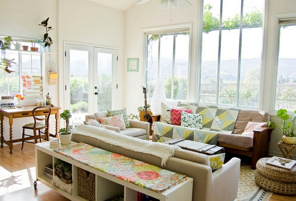 living room country house furnishing bright colors