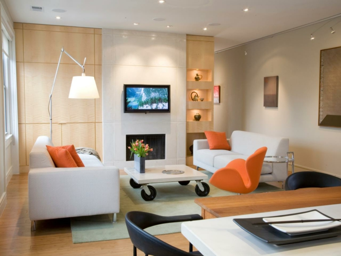 living room modern decor bright furniture orange accents