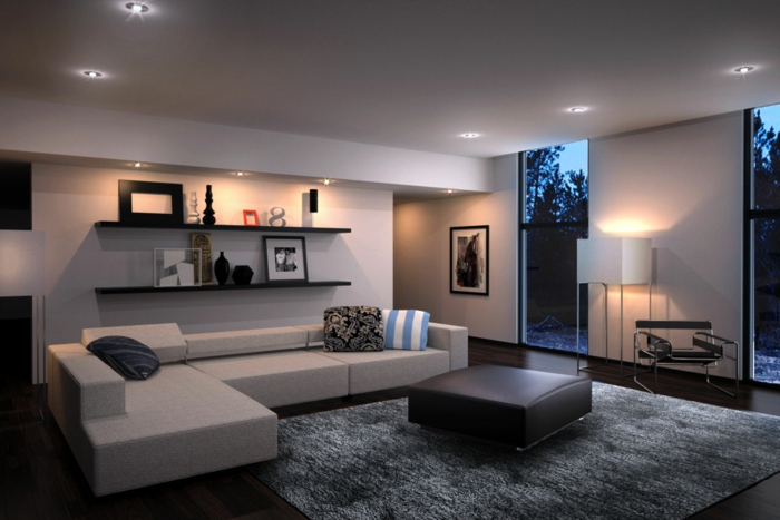 living room modern set up open wall shelves gray carpet